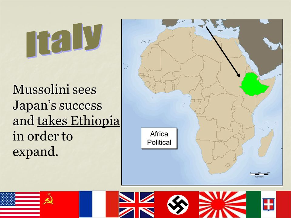 Italy Mussolini sees Japan's success and takes Ethiopia in order to expand.