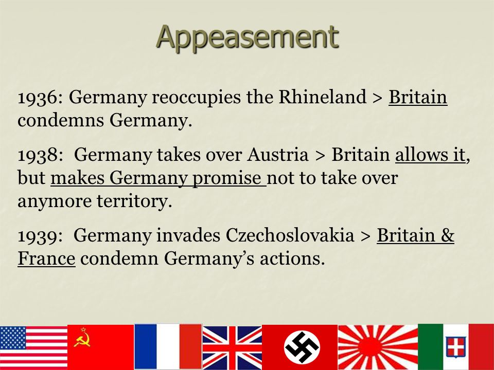 Appeasement 1936: Germany reoccupies the Rhineland > Britain condemns Germany.