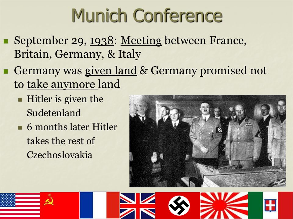 Munich Conference September 29, 1938: Meeting between France, Britain, Germany, & Italy.