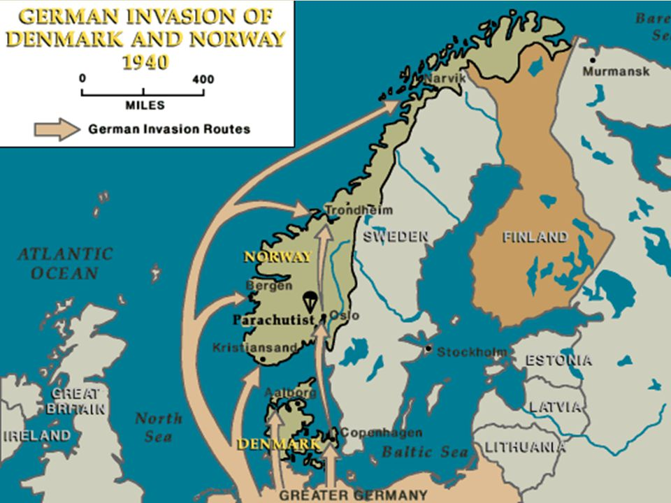 On April 9th, 1940, Hitler invaded Denmark and Norway.