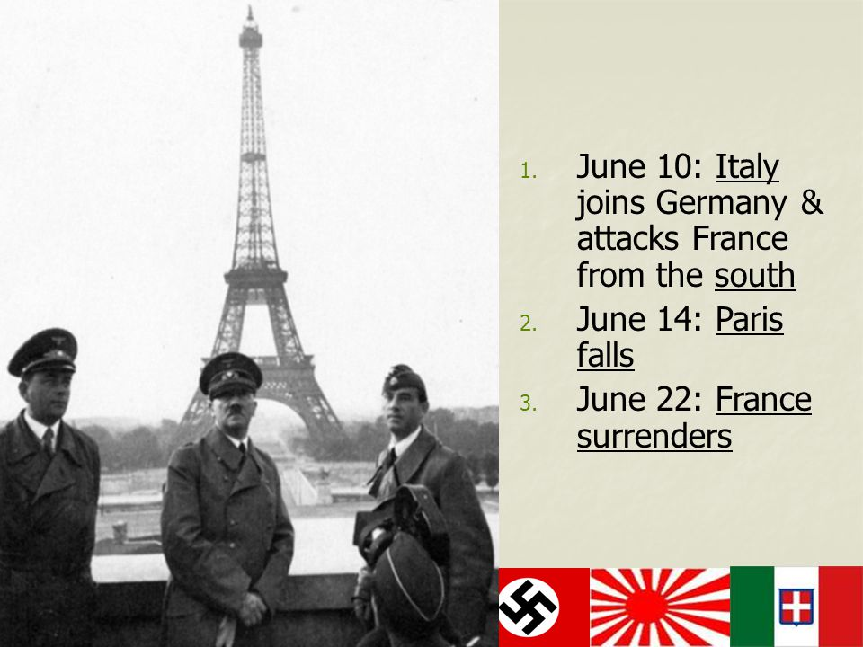 June 10: Italy joins Germany & attacks France from the south