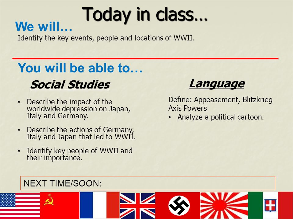 Today in class… We will… You will be able to… Language Social Studies