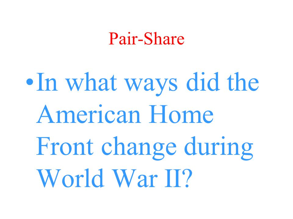 In what ways did the American Home Front change during World War II