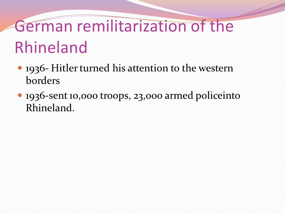 German remilitarization of the Rhineland