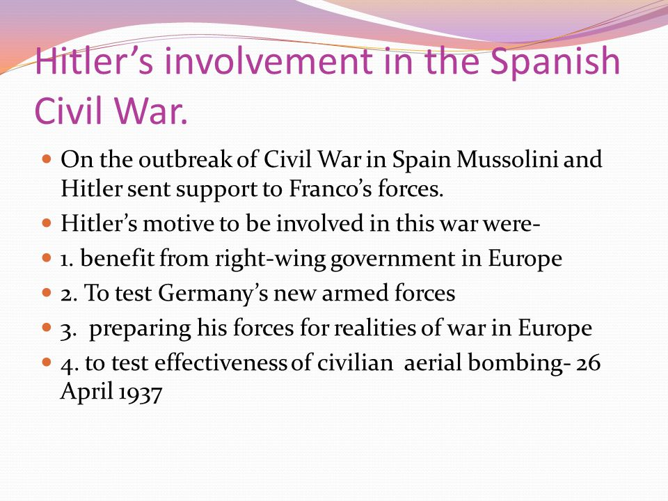 Hitler's involvement in the Spanish Civil War.