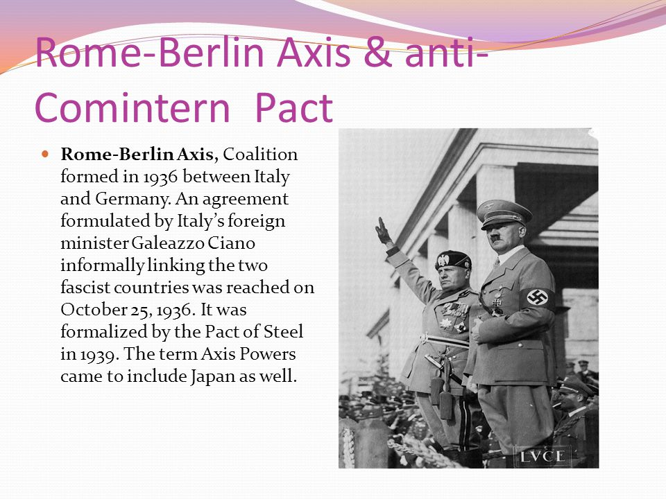 Rome-Berlin Axis & anti-Comintern Pact