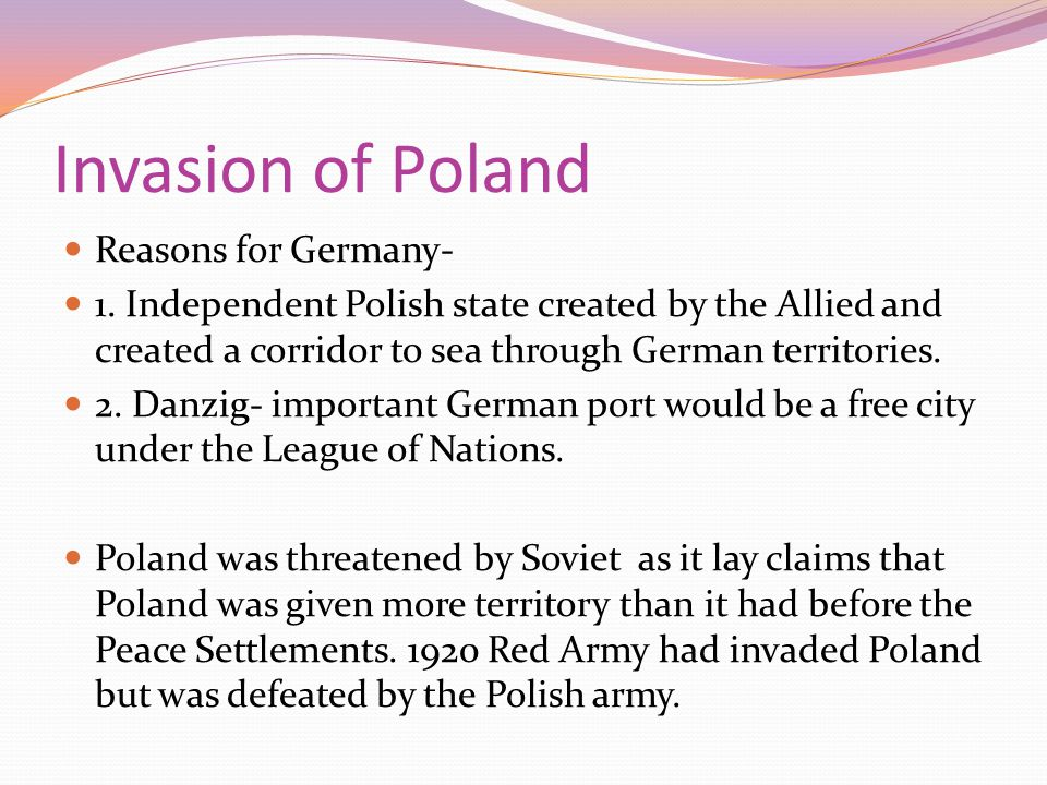 Invasion of Poland Reasons for Germany-
