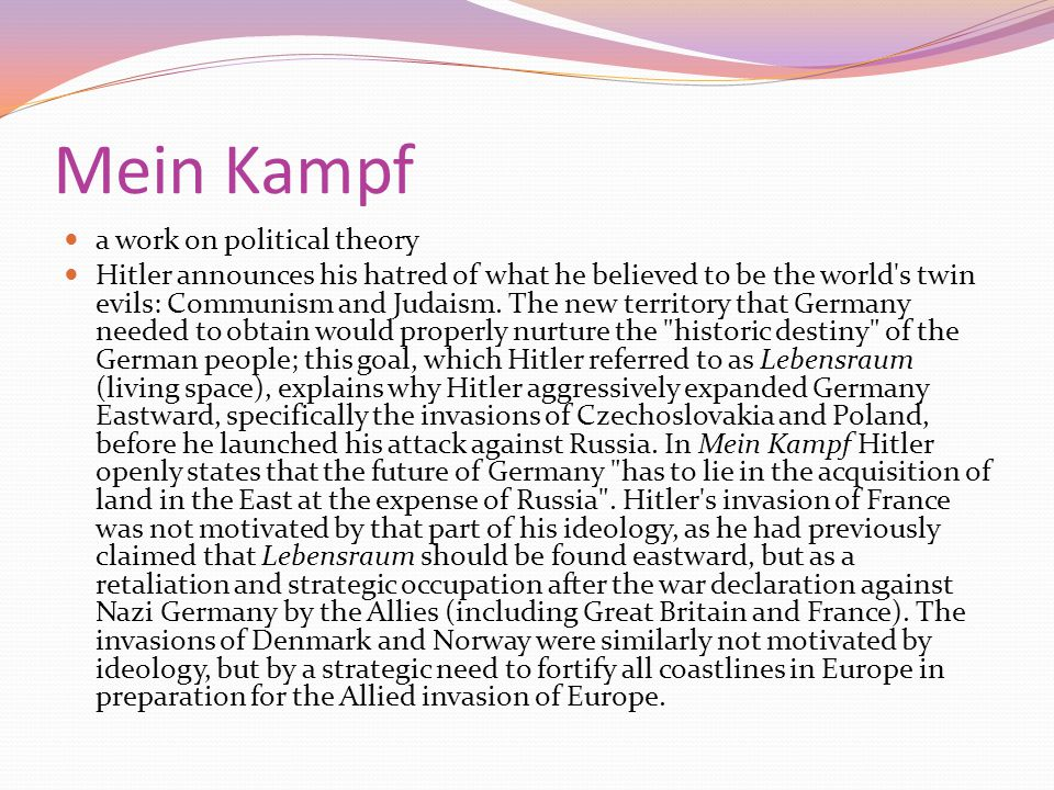 Mein Kampf a work on political theory