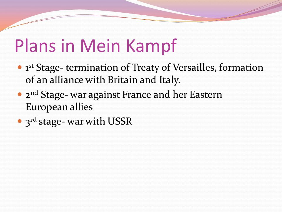 Plans in Mein Kampf 1st Stage- termination of Treaty of Versailles, formation of an alliance with Britain and Italy.