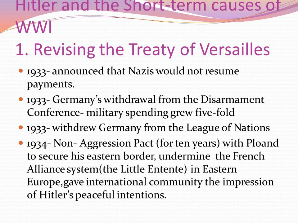 Hitler and the Short-term causes of WWI 1