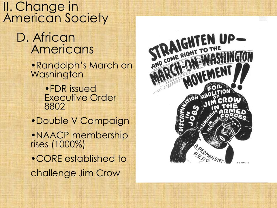 II. Change in American Society D. African Americans