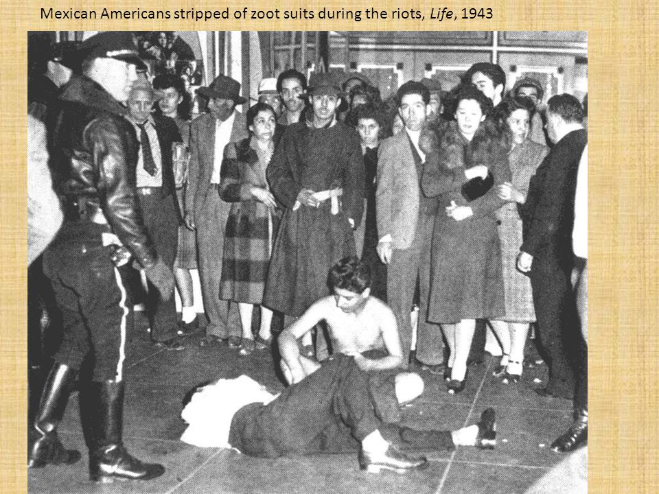 Mexican Americans stripped of zoot suits during the riots, Life, 1943