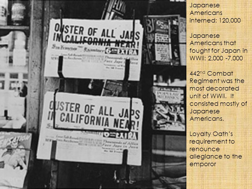 Japanese Americans interned: 120,000
