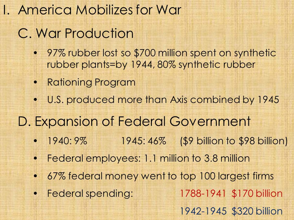 America Mobilizes for War C. War Production