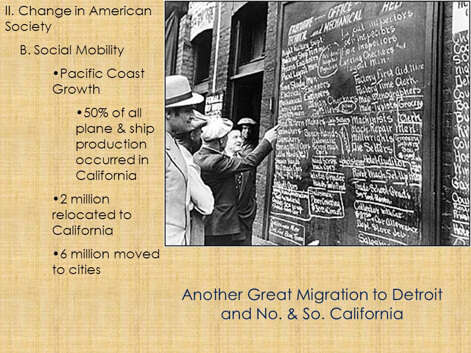 Another Great Migration to Detroit and No. & So. California