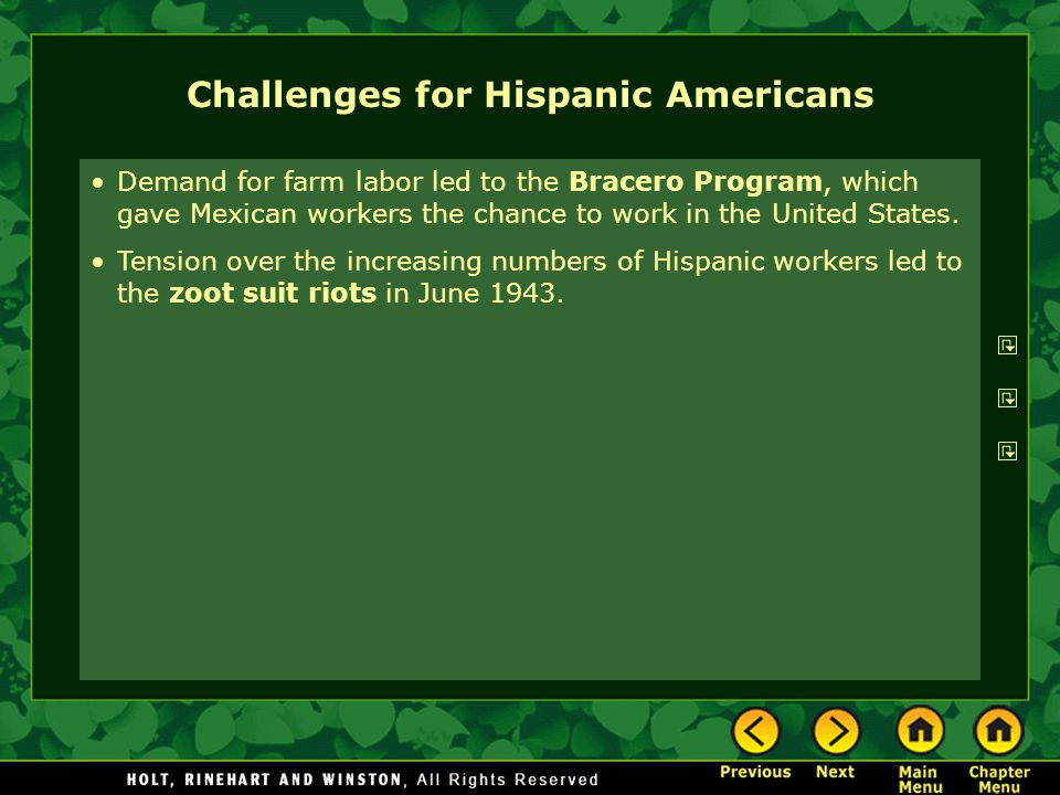 Challenges for Hispanic Americans