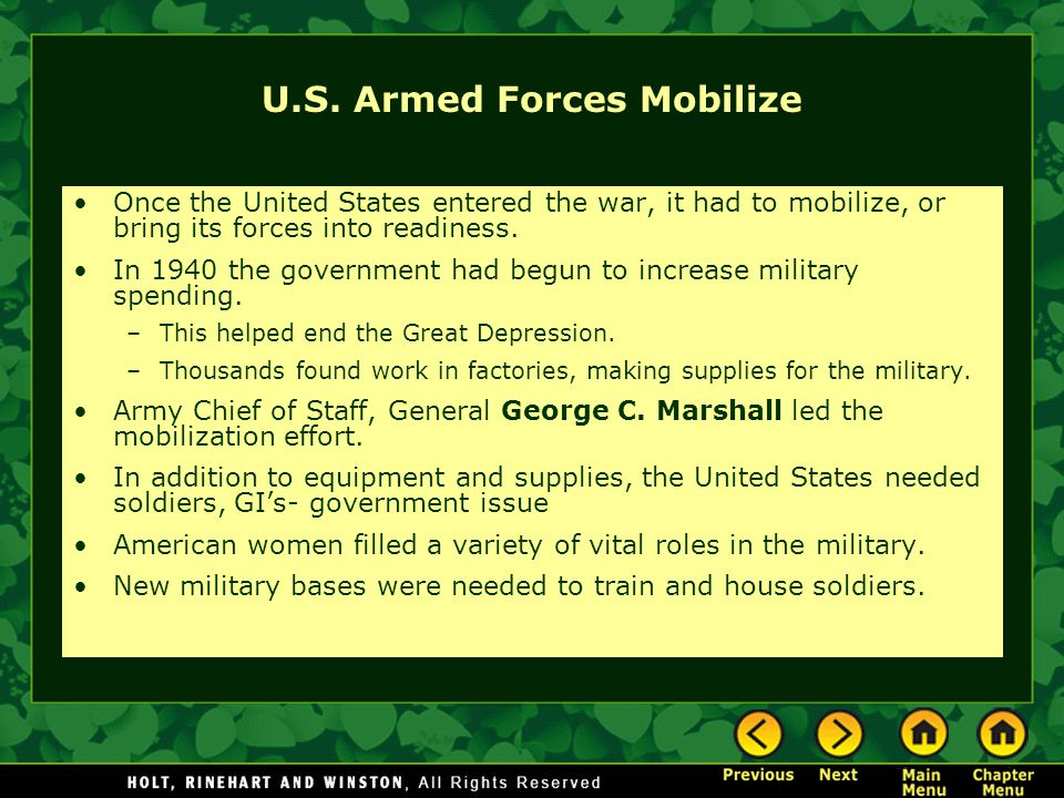 U.S. Armed Forces Mobilize