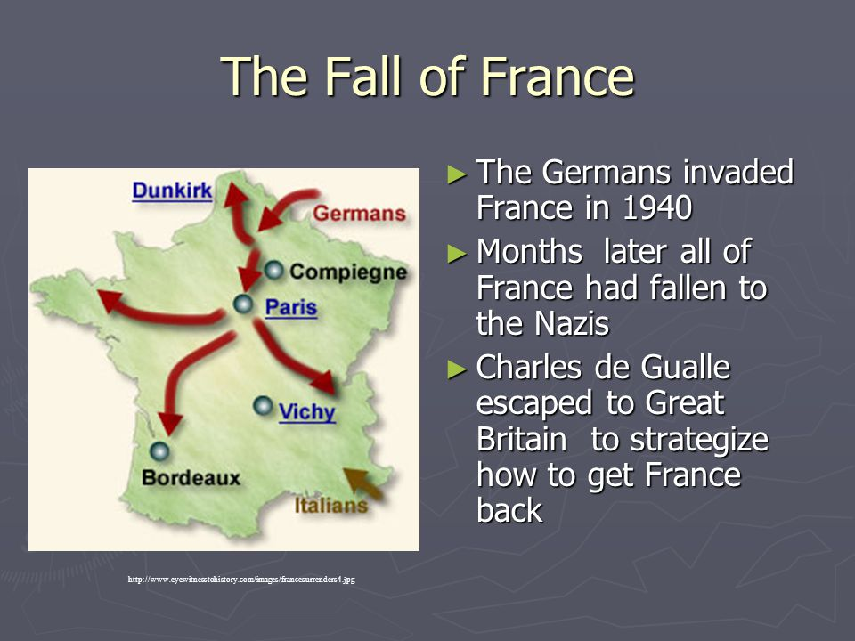 The Fall of France The Germans invaded France in 1940
