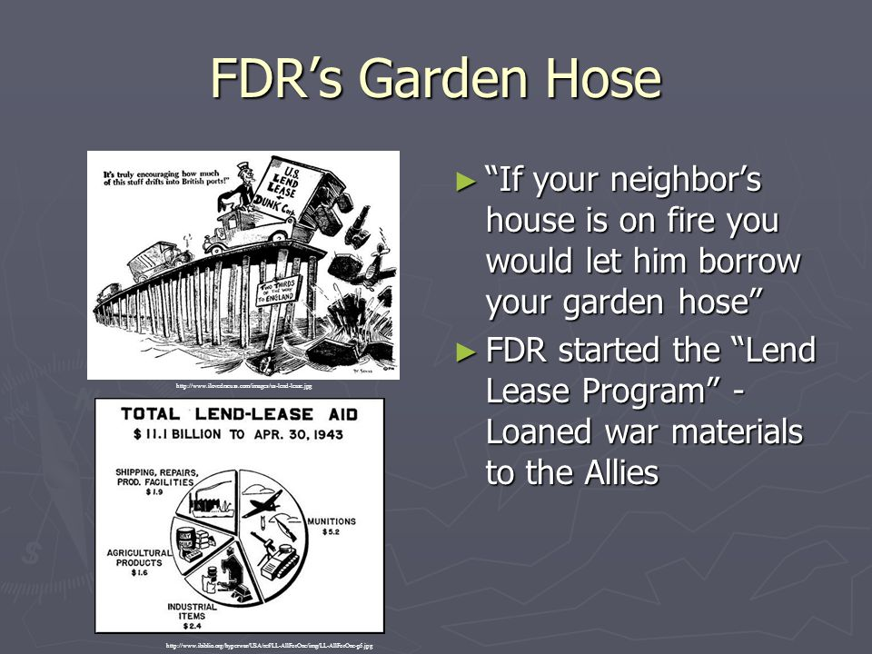 FDR's Garden Hose If your neighbor's house is on fire you would let him borrow your garden hose