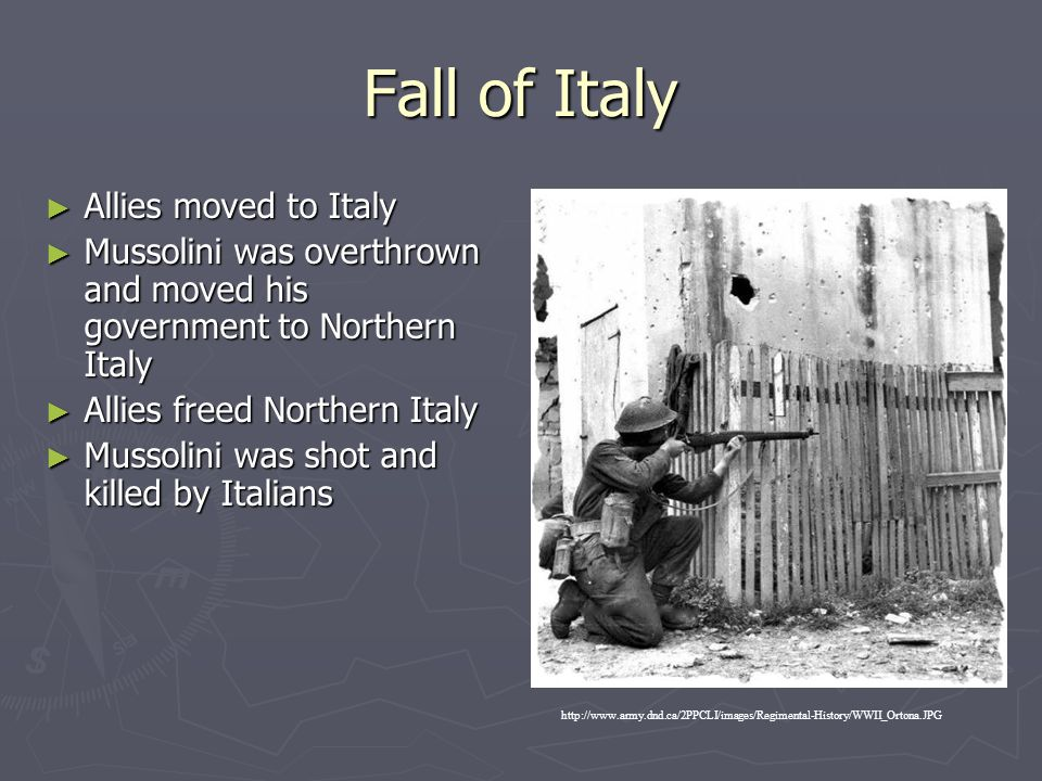 Fall of Italy Allies moved to Italy