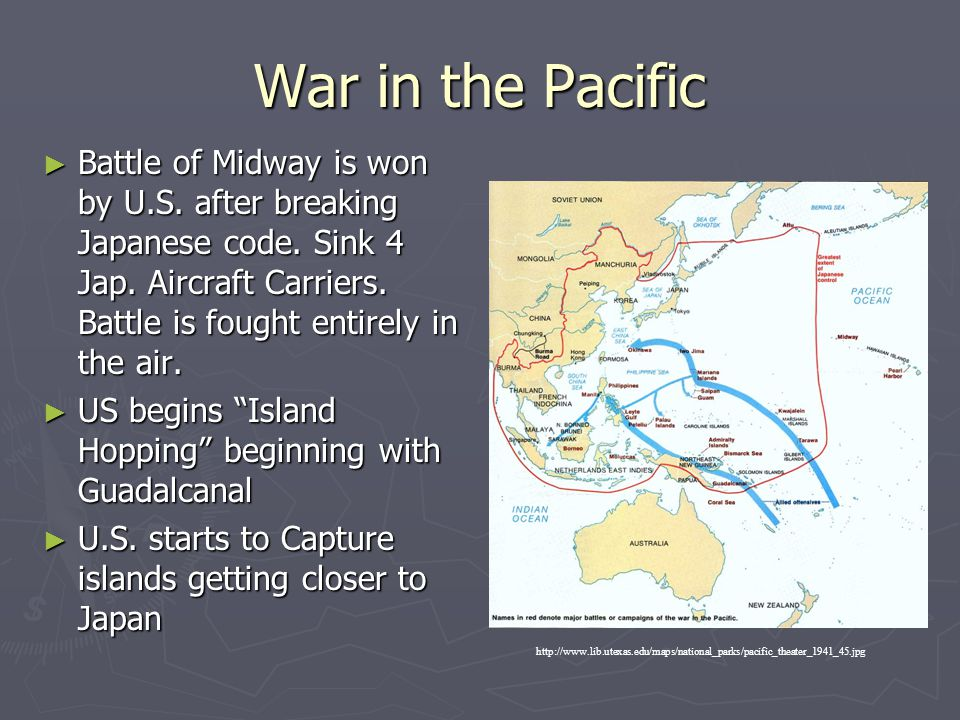War in the Pacific Battle of Midway is won by U.S. after breaking Japanese code. Sink 4 Jap. Aircraft Carriers. Battle is fought entirely in the air.
