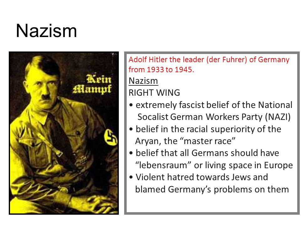 Nazism extremely fascist belief of the National