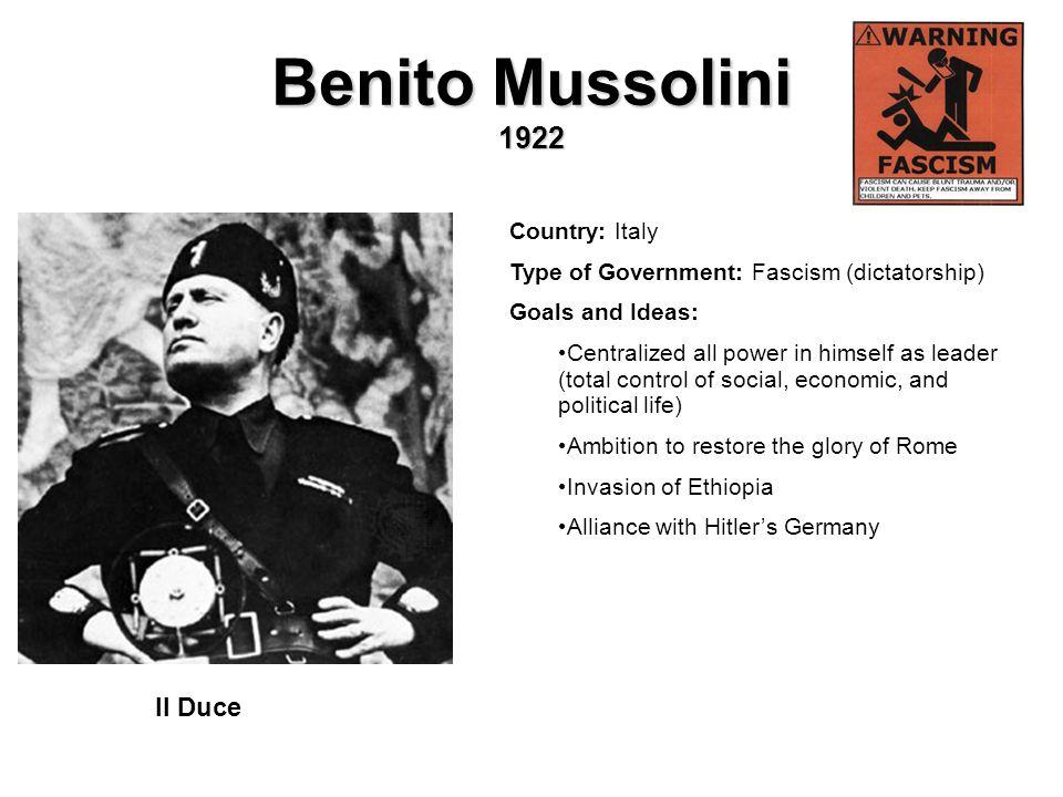 Benito Mussolini 1922 Il Duce Country: Italy