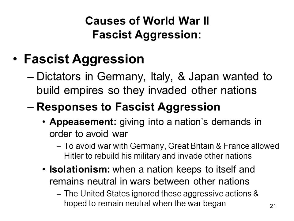 Causes of World War II Fascist Aggression: