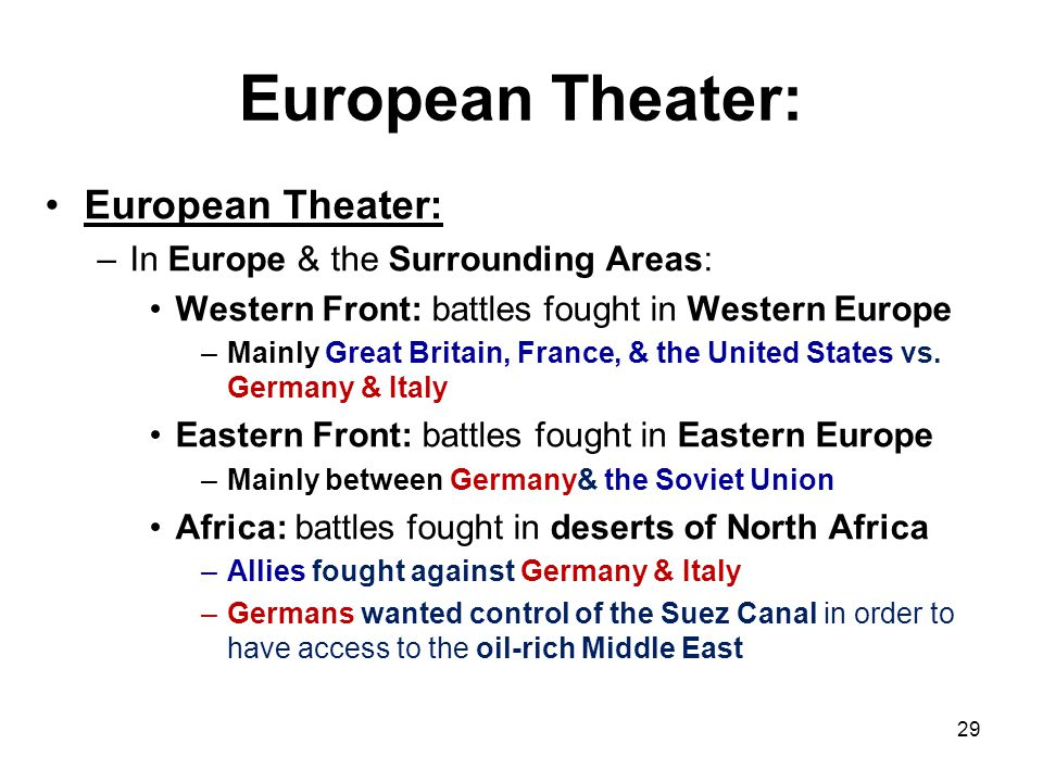 European Theater: European Theater: In Europe & the Surrounding Areas: