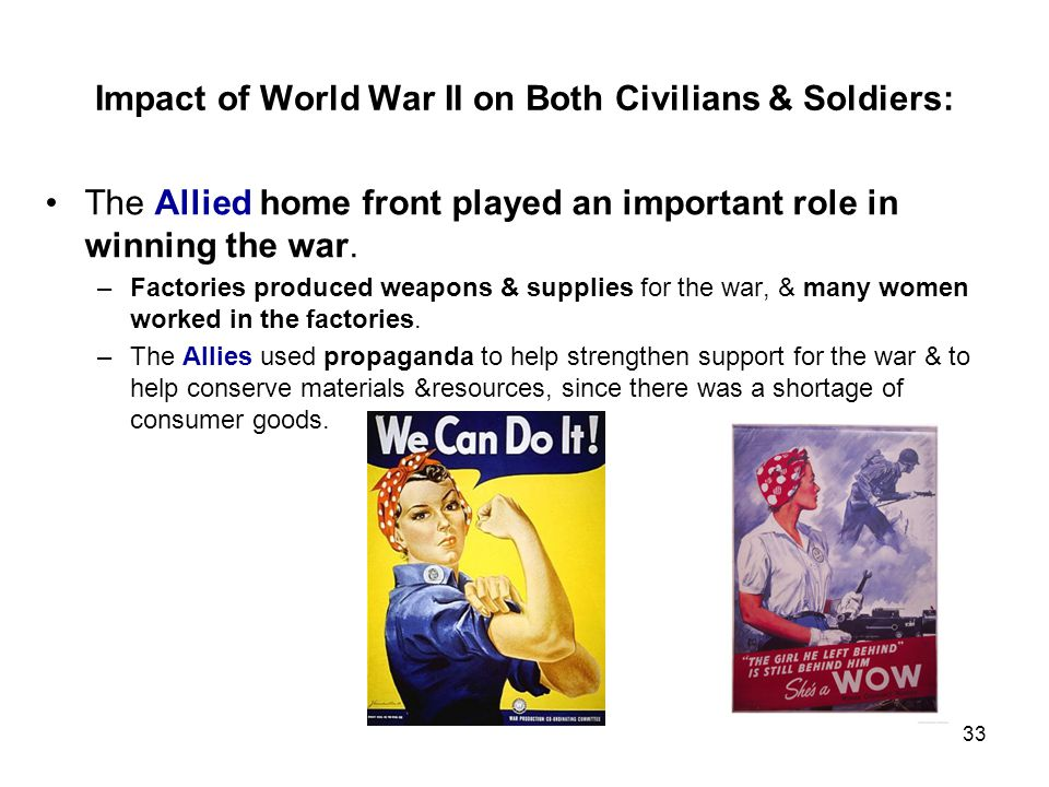 Impact of World War II on Both Civilians & Soldiers: