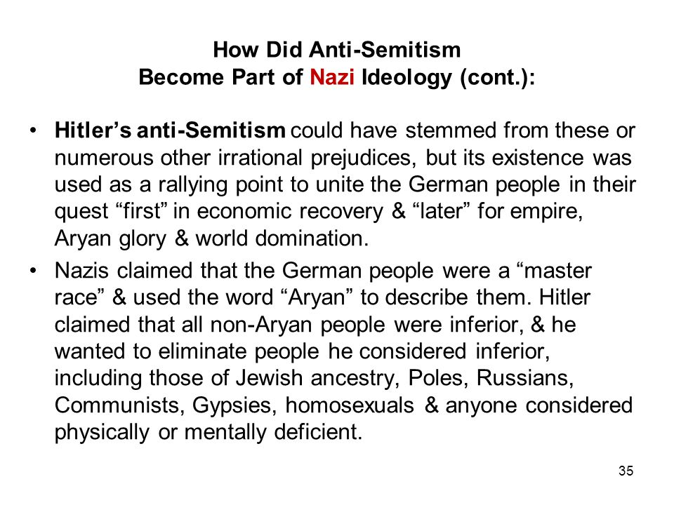 How Did Anti-Semitism Become Part of Nazi Ideology (cont.):