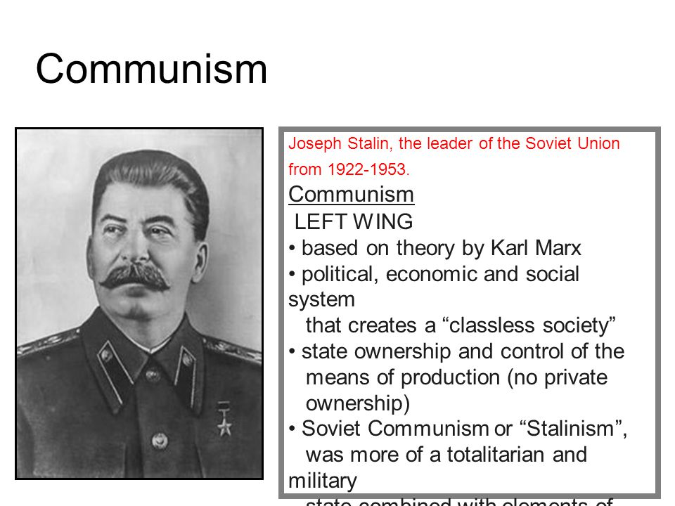 Communism based on theory by Karl Marx