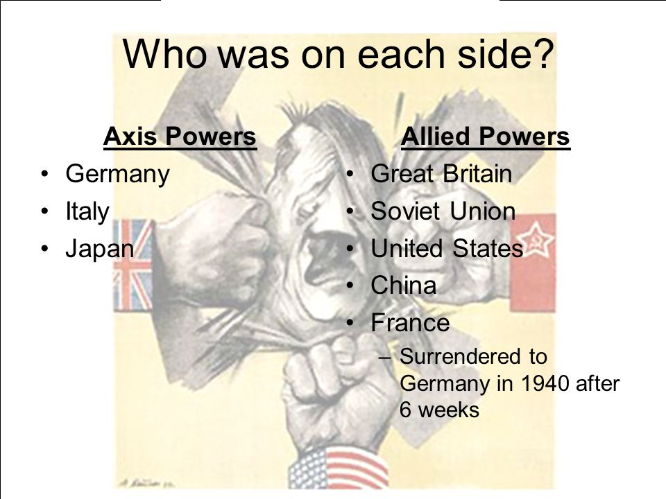 Who was on each side Axis Powers Germany Italy Japan Allied Powers