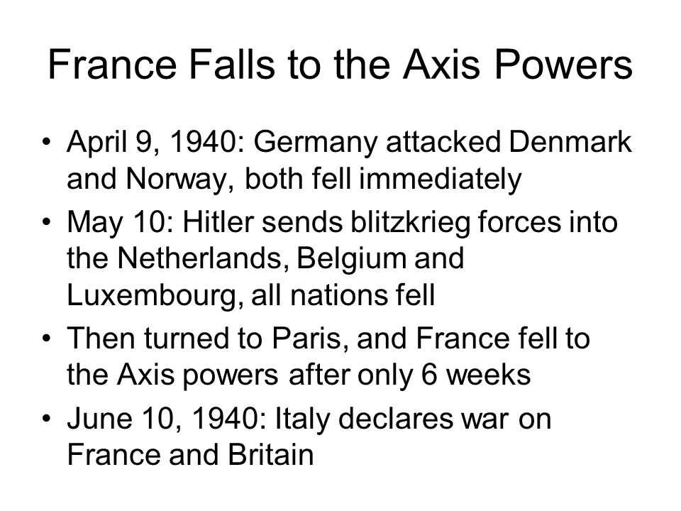 France Falls to the Axis Powers