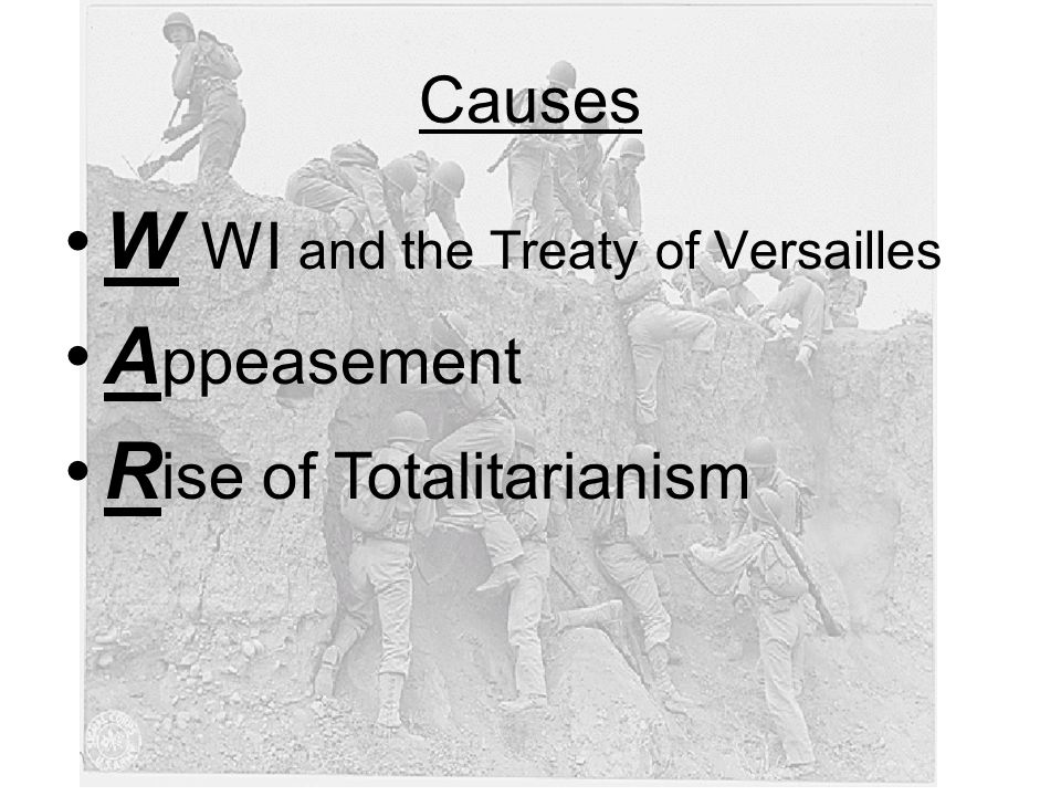 W WI and the Treaty of Versailles Appeasement Rise of Totalitarianism