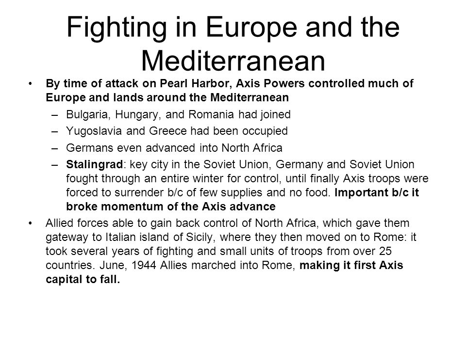 Fighting in Europe and the Mediterranean
