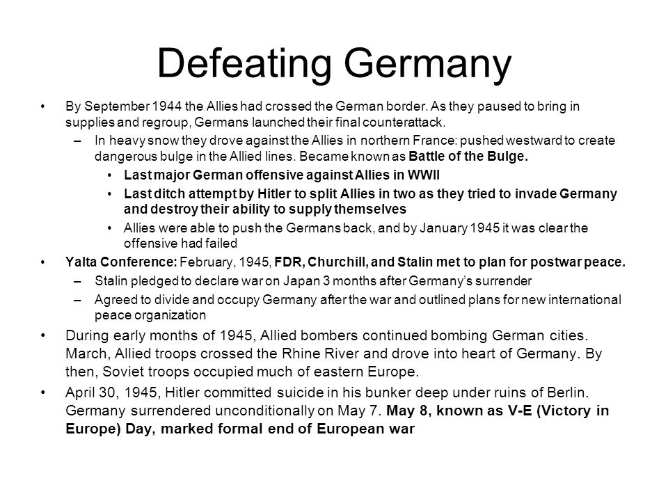 Defeating Germany