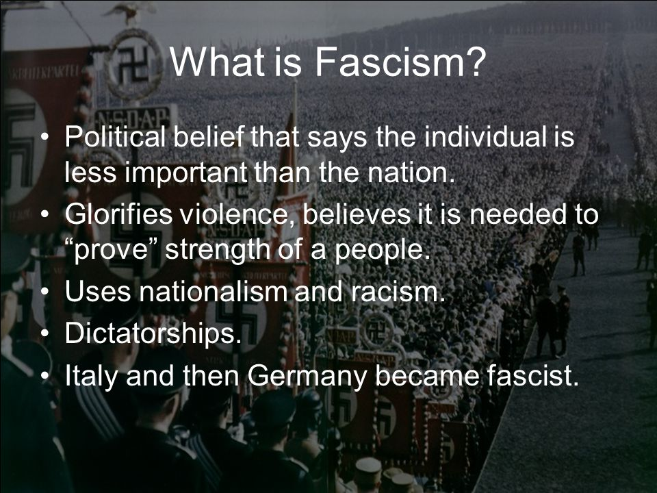 What is Fascism Political belief that says the individual is less important than the nation.