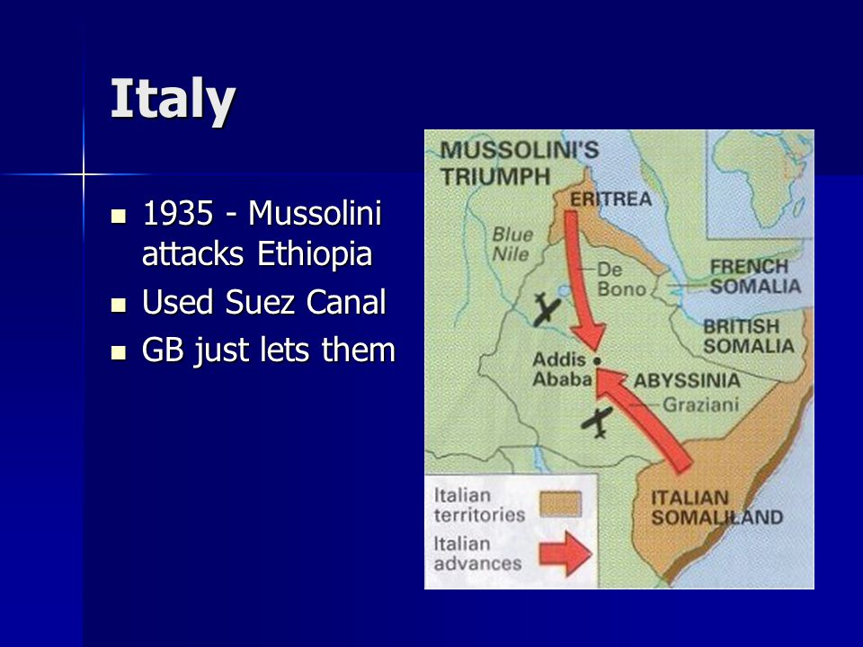 Italy 1935 - Mussolini attacks Ethiopia Used Suez Canal