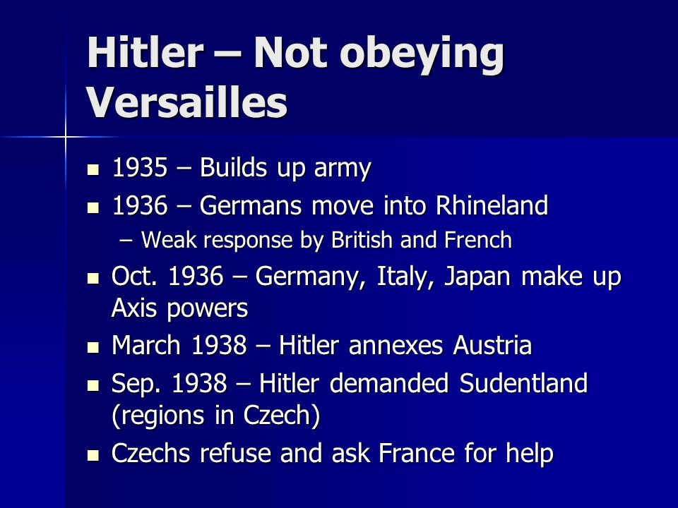 Hitler – Not obeying Versailles