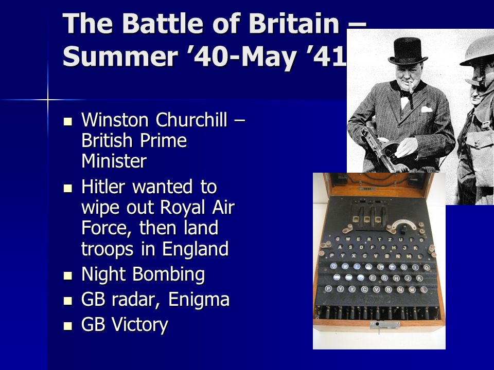 The Battle of Britain – Summer '40-May '41