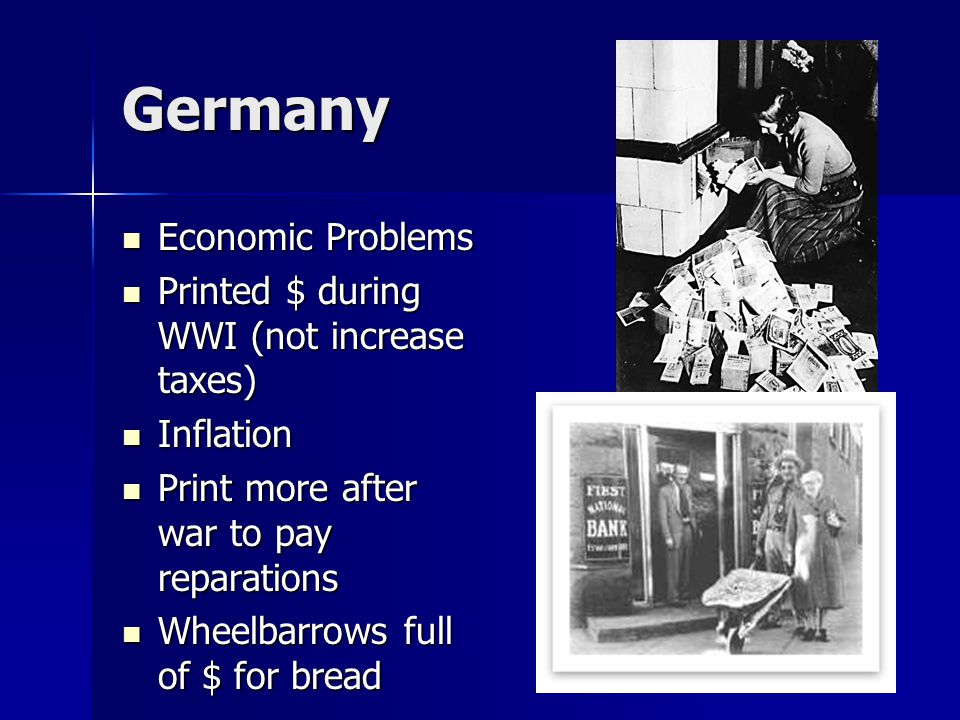Germany Economic Problems Printed $ during WWI (not increase taxes)