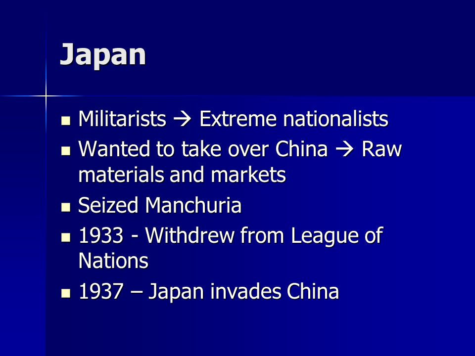 Japan Militarists  Extreme nationalists
