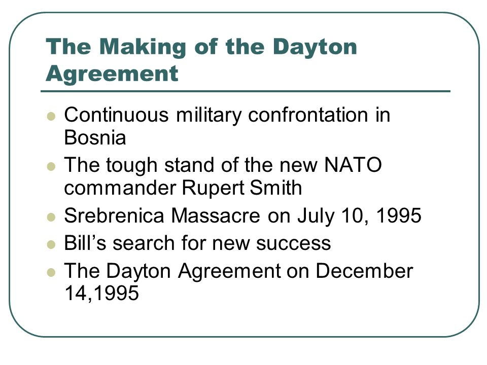 The Making of the Dayton Agreement