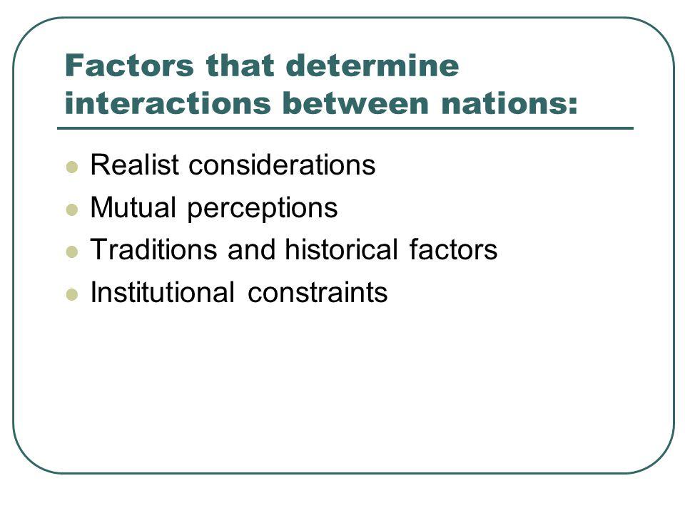 Factors that determine interactions between nations: