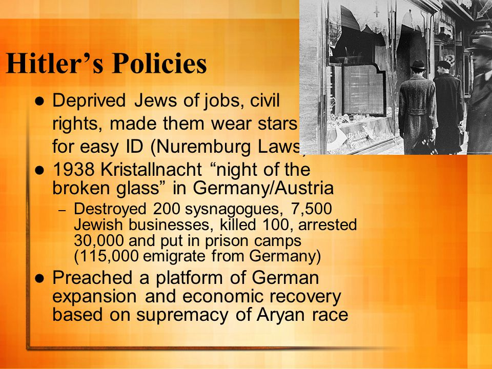 Hitler's Policies Deprived Jews of jobs, civil