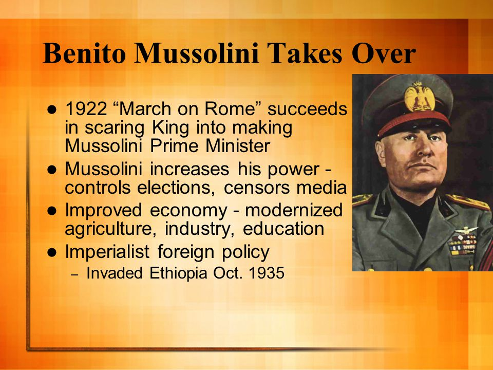 Benito Mussolini Takes Over