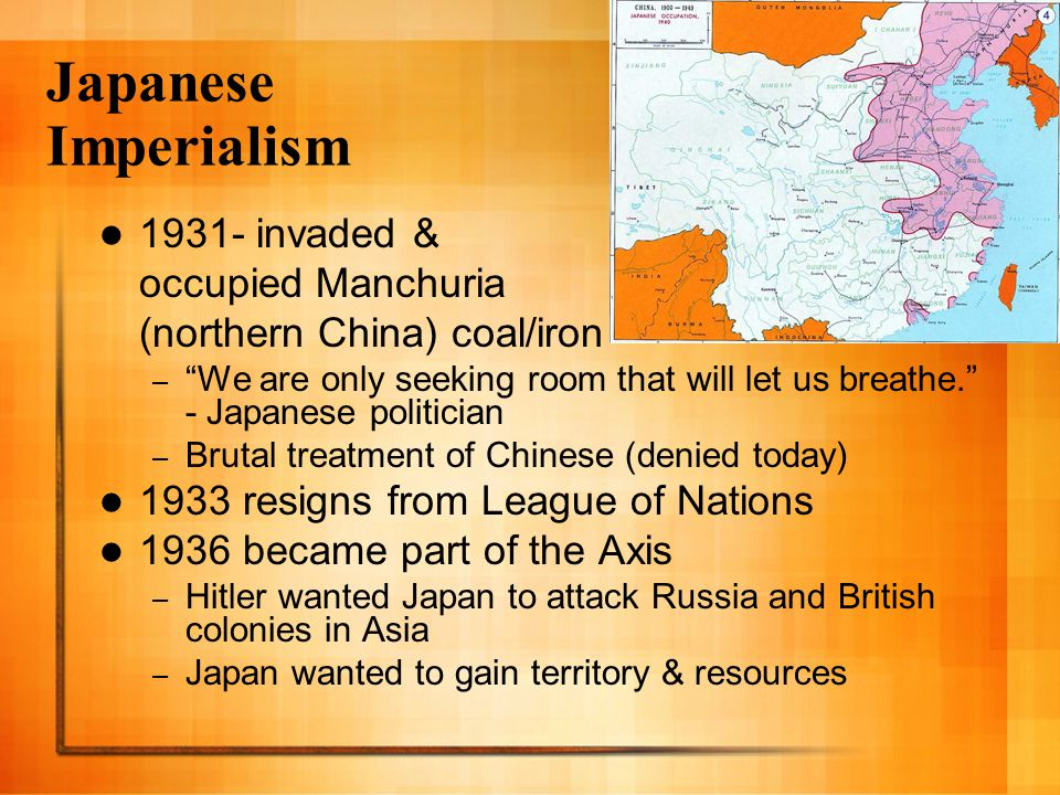 Japanese Imperialism 1931- invaded & occupied Manchuria
