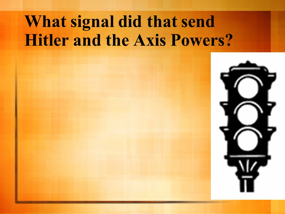 What signal did that send Hitler and the Axis Powers