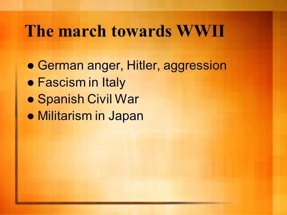 The march towards WWII German anger, Hitler, aggression